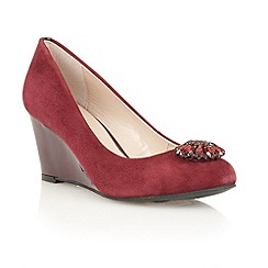 Lotus - Bordeaux suede 'Diamante' wedge court shoes