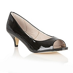 Lotus - Black patent 'Lily' peep toe shoes