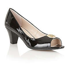 Lotus - Black patent 'Amber' open toe shoes