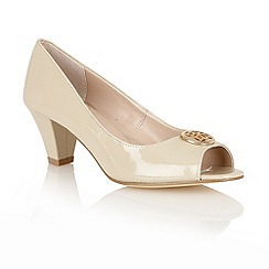 Lotus - Nude patent 'Amber' open toe shoes