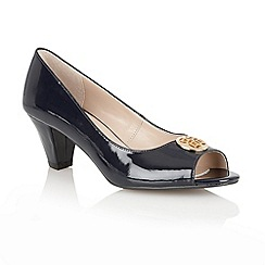 Lotus - Navy patent 'Amber' open toe shoes