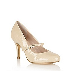 Lotus - Nude shiny 'Serenoa' mary-jane court shoes