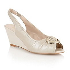 Lotus - Beige 'Seren' sling back wedge shoes