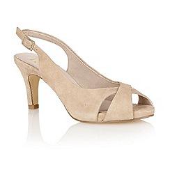Lotus - Beige suede 'Scarlette' peep-toe shoes