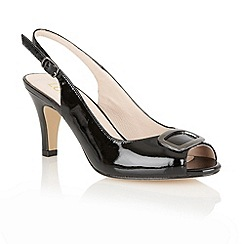 Lotus - Black patent 'Emily' sling back shoes