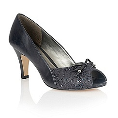 Lotus - Navy leather 'Nicoletta' peep toe shoes