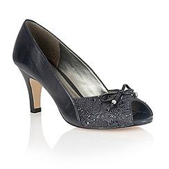 Lotus - Navy leather 'Nicoletta' peep toe shoes