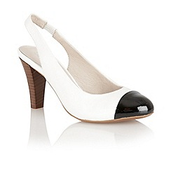 Lotus - White 'Daisy' sling back court shoes
