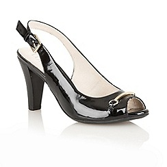 Lotus - Black patent 'Tilly' open toe shoes