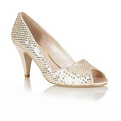 Lotus - Beige sequins 'Imogen' open toe shoes