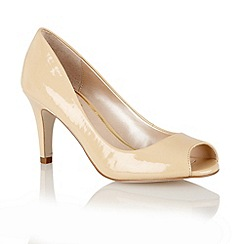 Lotus - Nude shiny 'Clary' open toe shoes