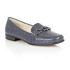 Lotus - Navy croc 'Tiger' flat shoes
