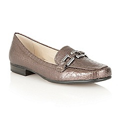 Lotus - Pewter lizard 'Tiger' flat shoes