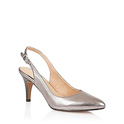 Lotus - Pewter leather 'Gloss' sling back high heel shoes
