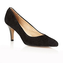 Lotus - Black suede 'Drama' high heel court shoes