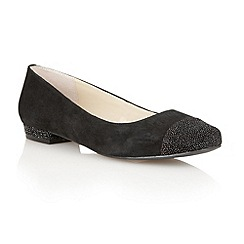 Lotus - Black/ suede/ glitter 'Tempo' flat shoes