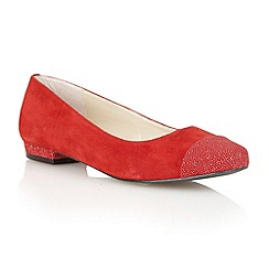 Lotus - Red/ suede/ glitter 'Tempo' flat shoes