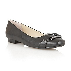 Lotus - Black leather 'Twiggy' flat shoes