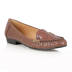 Lotus - Brown leather glitter 'Everly ' flat shoes