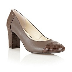 Lotus - Brown leather/print 'Miller' high heel court shoes