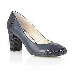 Lotus - Navy leather/print 'Miller' high heel court shoes