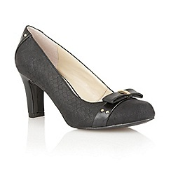 Lotus - Black print leather 'Gweny' high heel court shoes