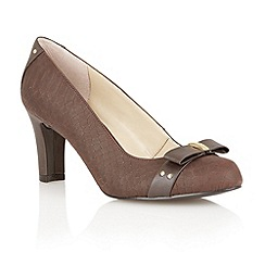 Lotus - Brown print leather 'Gweny' high heel court shoes