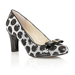 Lotus - Black & white sequined 'Gweny' high heel court shoes