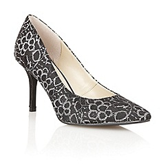 Lotus - Black /silver/lace 'Murphy' high heel court shoes