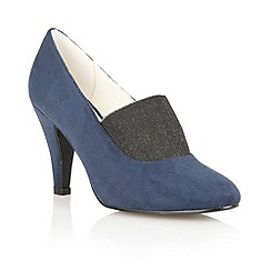 Lotus - Navy Microfibre 'Shine' high heel shoes