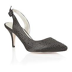 Lotus - Black satin 'Hope' sling back high heel shoes