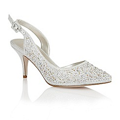 Lotus - Silver satin 'Hope' sling back high heel shoes