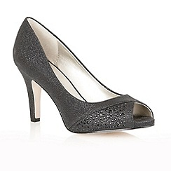 Lotus - Black glitter 'Atlantic' peep toe shoes