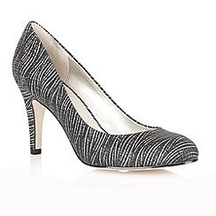 Lotus - Black printed satin 'Pepa' court shoes