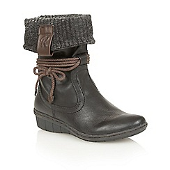 Lotus - Black 'Niata' mid calf boots