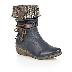 Lotus - Navy 'Niata' mid calf boots