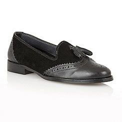Lotus - Black suede/ leather 'Stalis' flat shoes
