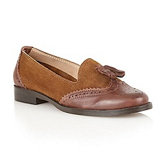 Lotus - Brown suede/ leather 'Stalis' flat shoes
