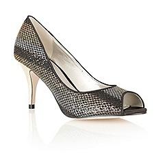 Lotus - Black/gold print 'Spark' peep toe shoes