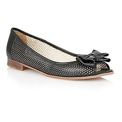 Lotus - Black leather 'Willana' peep toe flat shoes