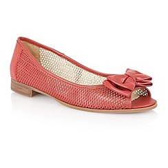 Lotus - Red leather 'Willana' peep toe flat shoes