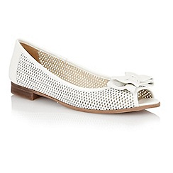 Lotus - White leather 'Willana' peep toe flat shoes