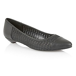 Lotus - Black leather 'Diamond' flat shoes