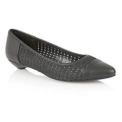 Lotus - Black leather 'Diamond' flat shoes