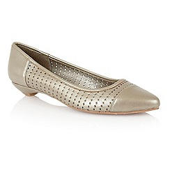 Lotus - Light gold leather 'Diamond' flat shoes