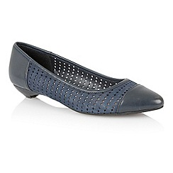 Lotus - Navy leather 'Diamond' flat shoes