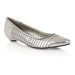 Lotus - Light pewter leather 'Diamond' flat shoes