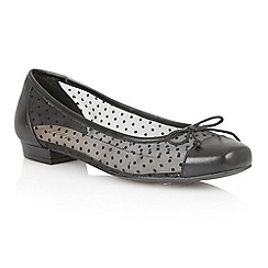 Lotus - Black leather mesh 'Damsel' flat shoes