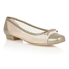 Lotus - Light gold leather mesh 'Damsel' flat shoes