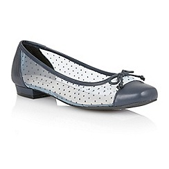 Lotus - Navy leather mesh 'Damsel' flat shoes